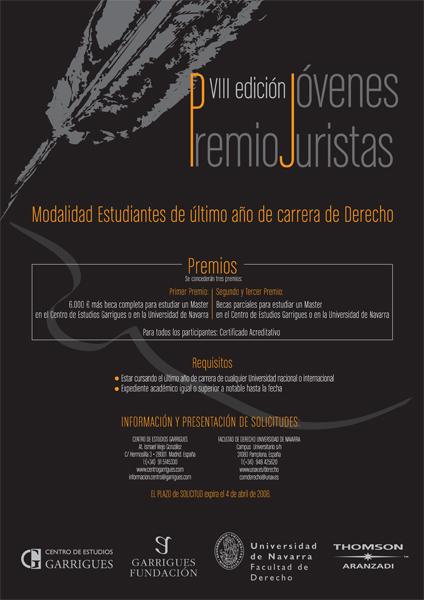 Cartel de la convocatoria de los VIII Premios Jóvenes Juristas